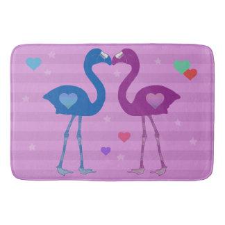 """Flamingos in Love"" Bath Mat (Blu/Pnk/Pnk)"