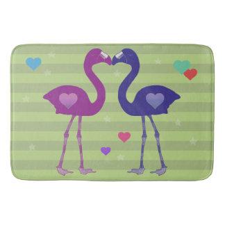 """""""Flamingos in Love"""" Bath Mat (Pnk/Prp/Grn)"""