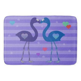 """""""Flamingos in Love"""" Bath Mat (Prp/Blu/Prp)"""