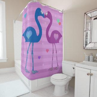 """Flamingos in Love"" Shower Curtain (Blu/Pnk/Pnk)"