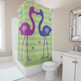"""Flamingos in Love"" Shower Curtain (Pnk/Prp/Grn)"