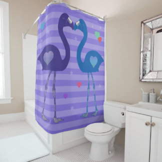 """Flamingos in Love"" Shower Curtain (Prp/Blu/Prp)"
