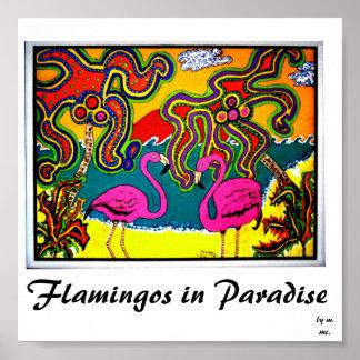Flamingos in Paradise Poster
