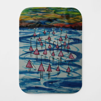 Flamingos in salty lake burp cloth