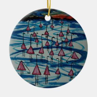 Flamingos in salty lake christmas ornament