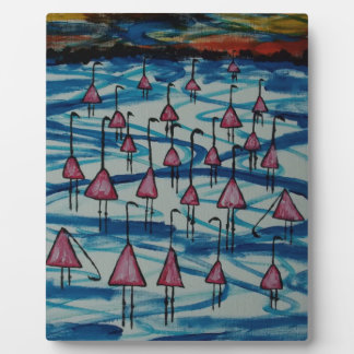 Flamingos in salty lake display plaque