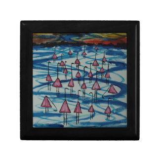 Flamingos in salty lake gift box