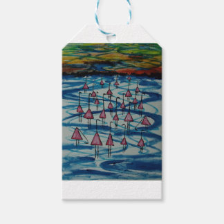 Flamingos in salty lake gift tags