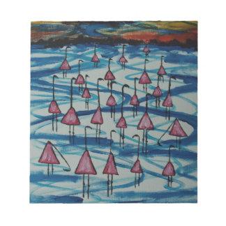 Flamingos in salty lake notepad