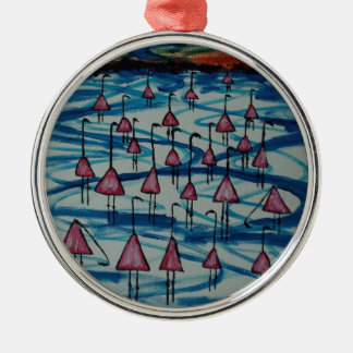 Flamingos in salty lake Silver-Colored round decoration