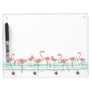Flamingos Line keychain holder dry erase board
