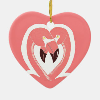 Flamingos Love Heart Ornament