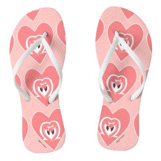Flamingos Love Print Light Coral Pink Flip Flops