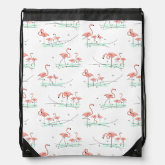 Flamingos Multi drawstring backpack