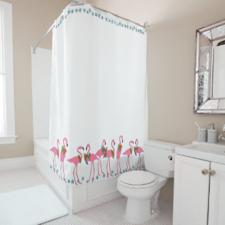 Flamingos n Starfish Beach Bath Shower Curtain