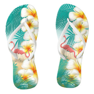 Flamingos on a Teal Tropical Beach Design Flip Flops