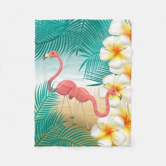 Flamingos on a Teal Tropical Beach Paradise Fleece