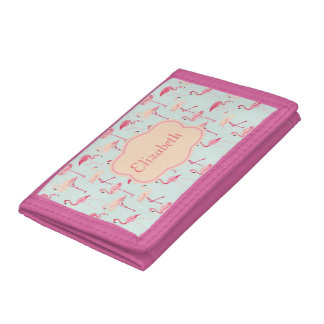 flamingos on blue tri-fold wallets