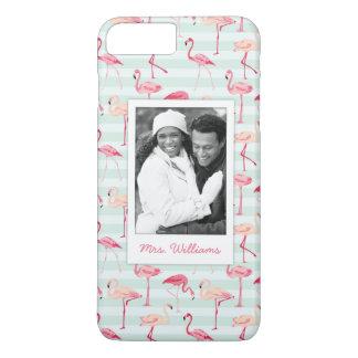 Flamingos On Mint Stripes | Add Your Photo & Name iPhone 8 Plus/7 Plus Case