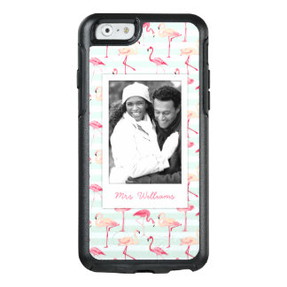 Flamingos On Mint Stripes | Add Your Photo & Name OtterBox iPhone 6/6s Case