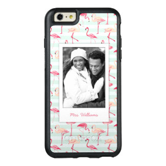 Flamingos On Mint Stripes | Add Your Photo & Name OtterBox iPhone 6/6s Plus Case