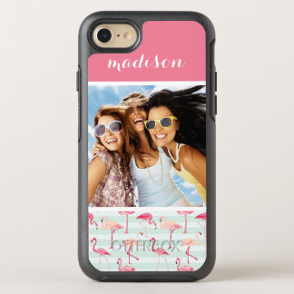 Flamingos On Mint Stripes | Add Your Photo & Name OtterBox Symmetry iPhone 8/7 Case