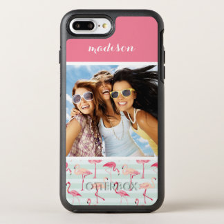Flamingos On Mint Stripes | Add Your Photo & Name OtterBox Symmetry iPhone 8 Plus/7 Plus Case