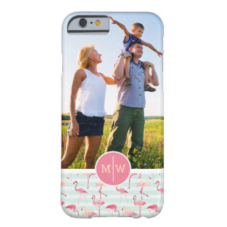 Flamingos On Stripes | Add Your Photo & Monogram Barely There iPhone 6 Case
