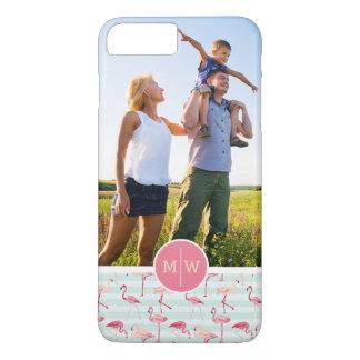 Flamingos On Stripes | Add Your Photo & Monogram iPhone 7 Plus Case