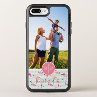 Flamingos On Stripes| Add Your Photo & Monogram OtterBox Symmetry iPhone 8 Plus/7 Plus Case