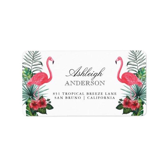 Flamingos & Pineapple | Tropical Flora Address Label