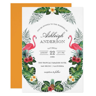 Flamingos & Pineapple Tropical Flora Bridal Shower Card