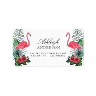 Flamingos & Pineapple | Tropical Flora Label