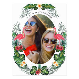 Flamingos & Pineapple | Will You Be My Bridesmaid Postcard