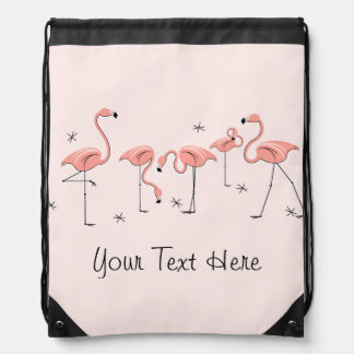 Flamingos Pink Group 'Text' drawstring backpack