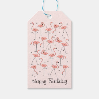 Flamingos Pink  Happy Birthday gift tags