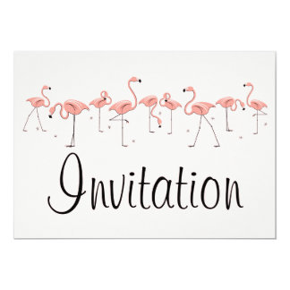 Flamingos Pink Line invitation