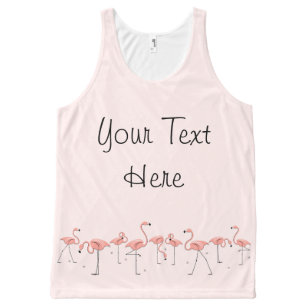 Flamingos Pink Line Text all over tank