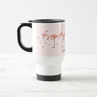 Flamingos Pink Line 'Text' travel mug