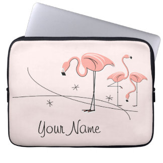 Flamingos Pink Trio 3 Name laptop sleeve