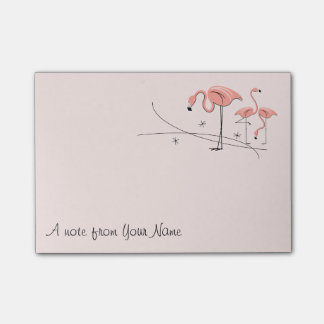 "Flamingos Pink Trio 3 ""Text"" Post-it Notes"
