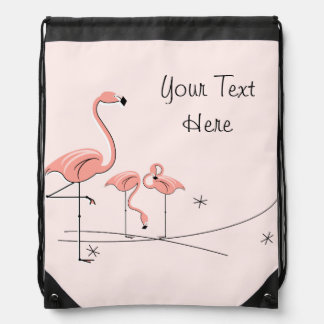 Flamingos Pink Trio 4 'Text' drawstring backpack