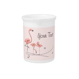 Flamingos Pink Trio 4 text pitcher
