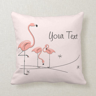 Flamingos Pink Trio 4 'Text' striped back square Cushion
