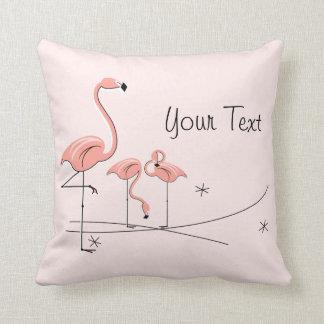 Flamingos Pink Trio 4 'Text' striped back square Throw Pillow
