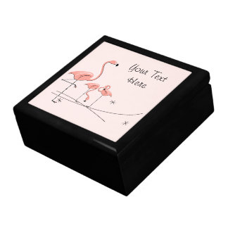 Flamingos Pink Trio 4 Text tile gift box