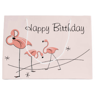 Flamingos Pink Trio Happy Birthday gift bag large