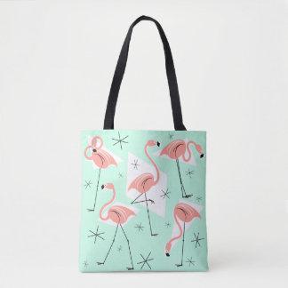 Flamingos Retro Green all over coral check back Tote Bag