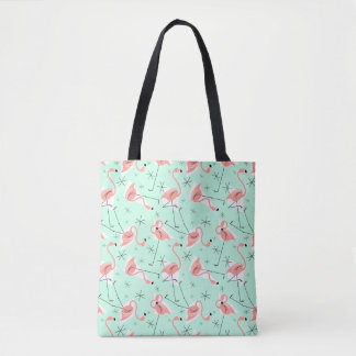 Flamingos Retro Green Multi green check back Tote Bag