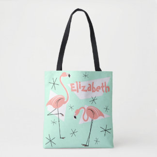 Flamingos Retro Green Name coral check back Tote Bag